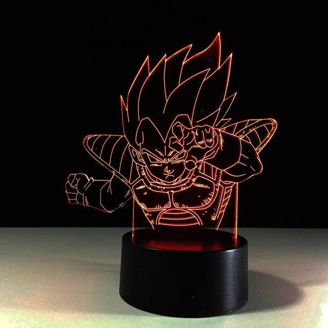 Hot Dragon Ball Monkey 3D Night Lamp Super Saiyan Goku Led Bulb Desk Light Colorful Visual Illusion USB Mood