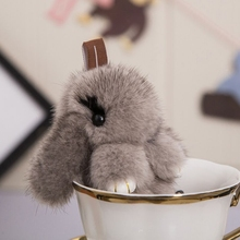 Mink Fur Rabbit Keychains rabbit pendant car keychain bag charm jewelry play dead rabbit fur accessories Natural Mink Skin bunny
