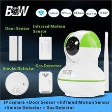 Cctv monitor de wifi mini cámara ip sensor de alarma + sensor de puerta/infrarrojos motion sensor + detector de humo/gas cctv sistema de seguridad bw12gr