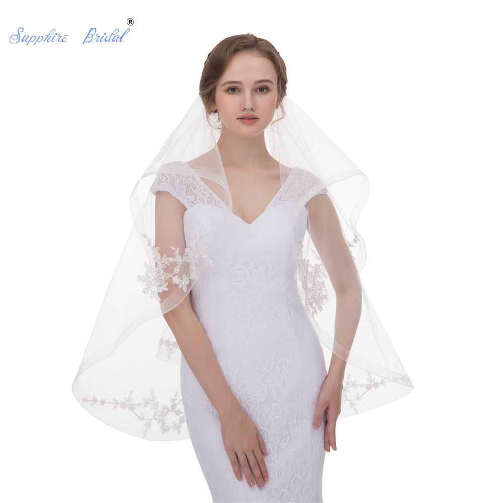 Sapphire Bridal New 2 Layers Silver Beaded Lace Edge Fingertip Length Bridal Wedding Veil With Comb Velo De Novia In Stock