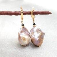 LiiJi Unique Fashion Women Jewelry Pink Purple Color Big AA+ Baroque Pearl Black Spinels 925 Sterling Silver Drop Earrings