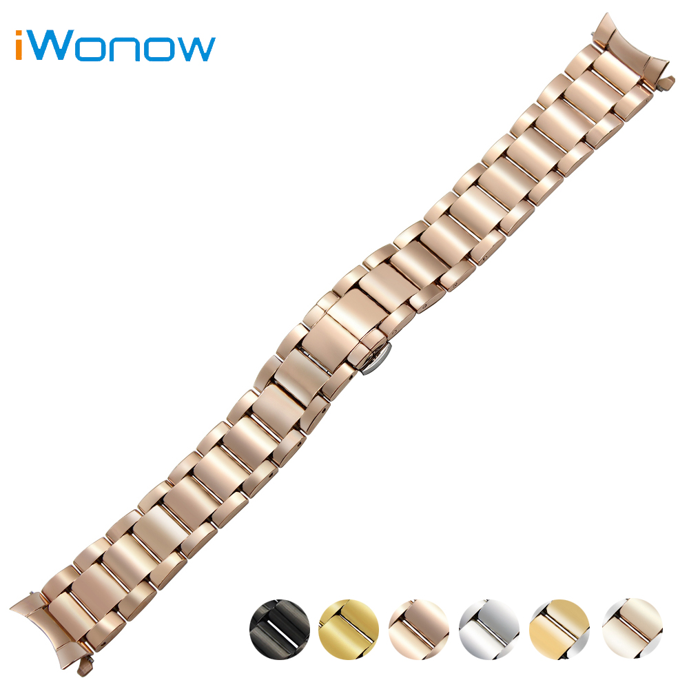 Stainless Steel Watch Band 18mm 20mm 22mm for Orient Curved End Strap Butterfly Buckle Belt Wrist Bracelet Black Gold Silver curved end stainless steel watch band for breitling avenger superocean men women wrist strap bracelet silver gold 18mm 20mm 22mm