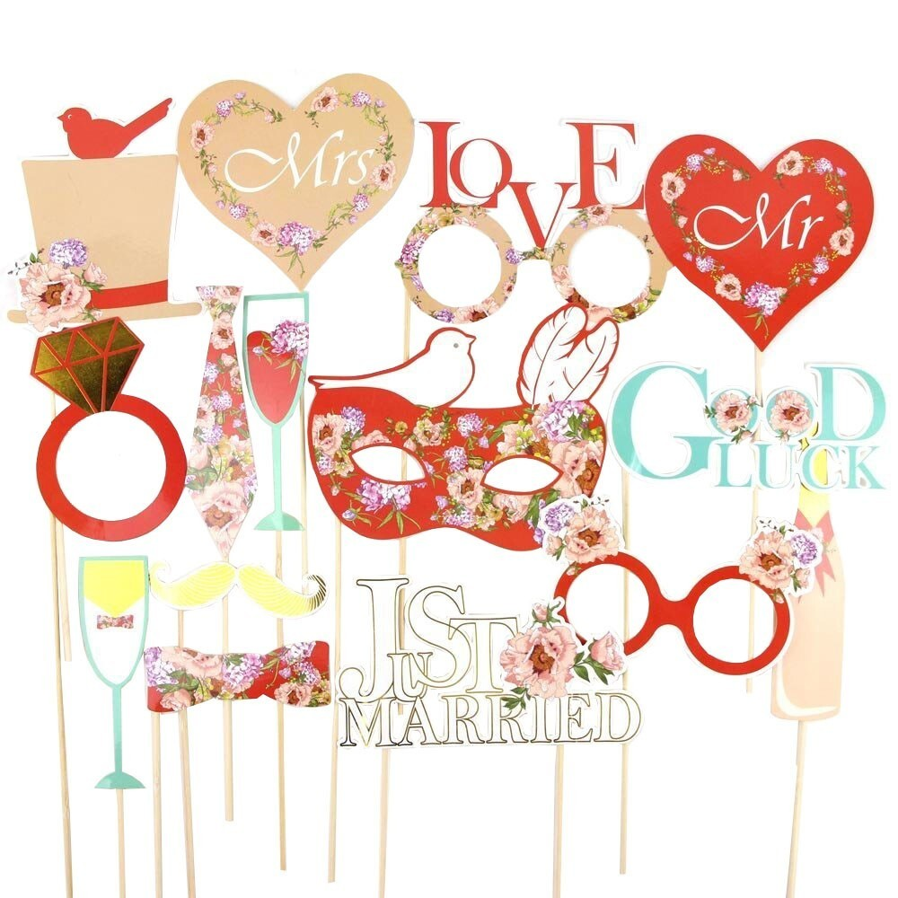 Pack of 15 Red Wedding Photo Booth Props Kit Lyric Photo Props on a Stick Wedding Signs Funny Photographic Supplies