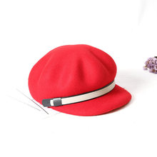2018 new Thick Woman Beret autumn winter England Vintage wool Cap Hat Octagonal Cap Beret Men Winter Hat Cabbie Hats(China)