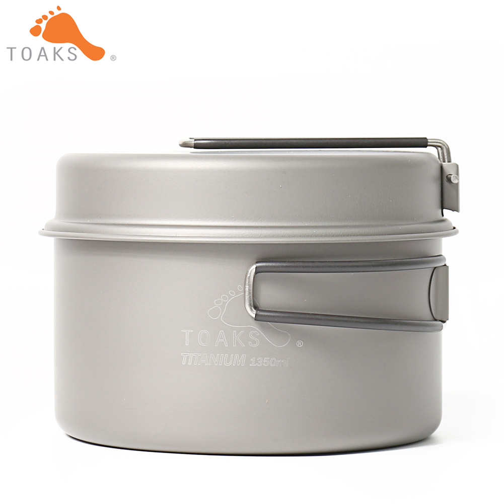 лучшая цена TOAKS CKW-1350 Titanium Outdoor Camping Pan Hiking Cookware Backpacking Cooking Picnic Bowl Pot Pan Set with Folded handle