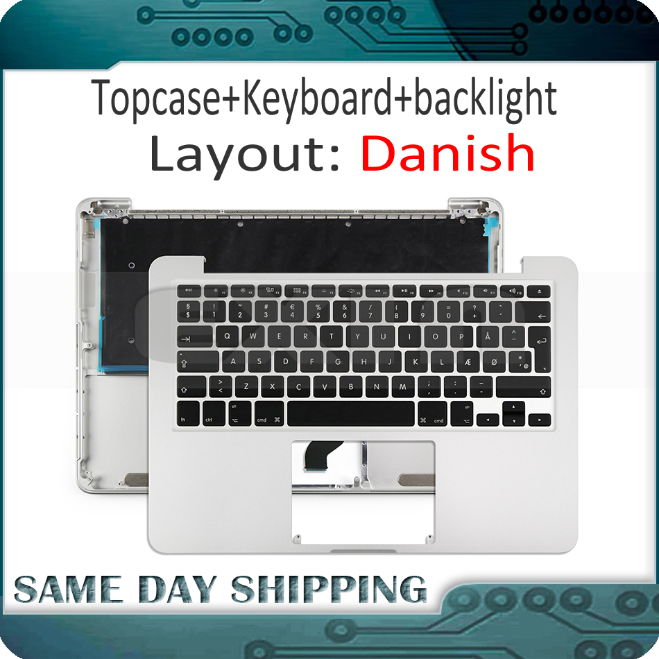Laptop A1502 Topcase Palm Rest with Danish Danmark Denish Keyboard for Macbook Pro 13