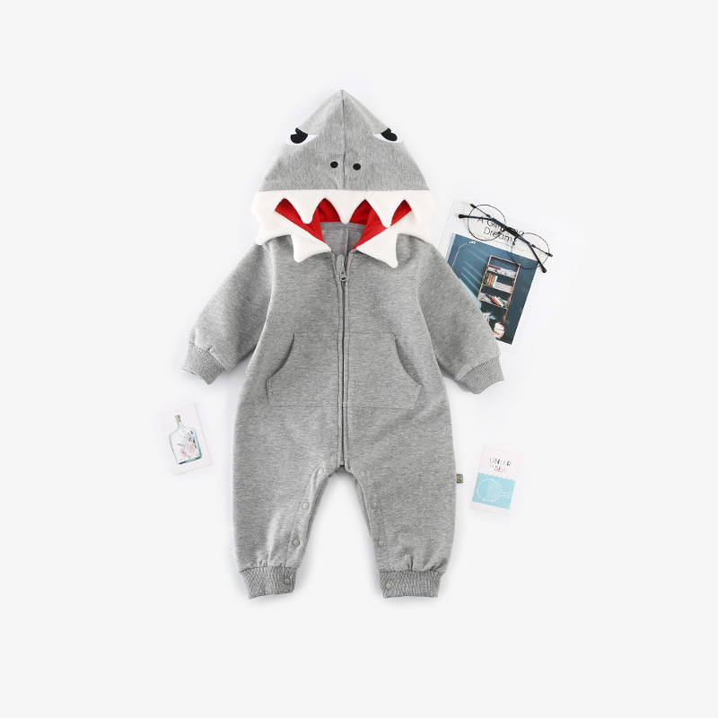 Baby Shark Rompers Grey Casual Newborn Boy Jumpsuits Outfits Long Sleeve Toddler Kids Girl Playsuits One Piece Children Overalls in Rompers from Mother Kids