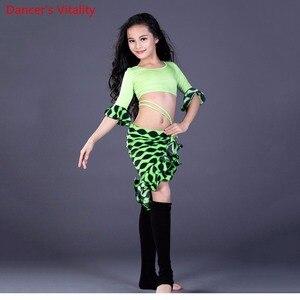 Image 3 - Nieuwe Competitio Kids Meisjes 3 Kleuren Oosterse Dansen Kleding Ronde Hals Tops & Rok Buikdans Set Kostuums Voor Kinderen