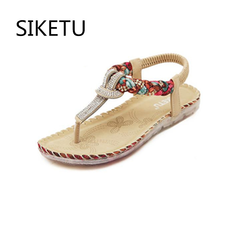 SIKETU New Summer women flat sandals Ladies Summer Bohemia  Rhinestone  Beach Flip Flops Shoes Casual Shoes Beach slippers siketu 2017 new summer beach slipper flip flops sandals women mixed color casual sandals shoes flat free shipping plus size