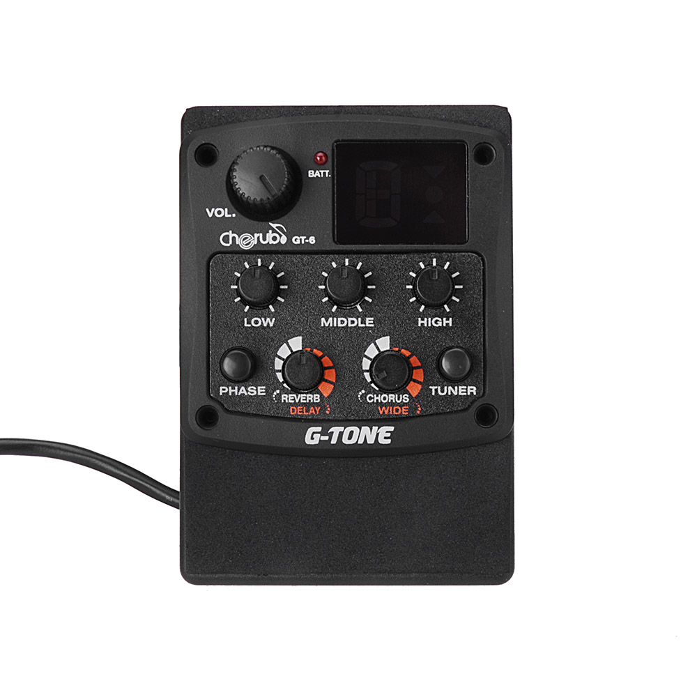 Cherub G Tone Gt 6 Acoustic Guitar Preamp Piezo Pickup 3 Band Eq Wiring Diagrams 2 Pickups 1 Equalizer Lcd Tuner With Reverb Delay Chorus Wide Effects In Parts Accessories