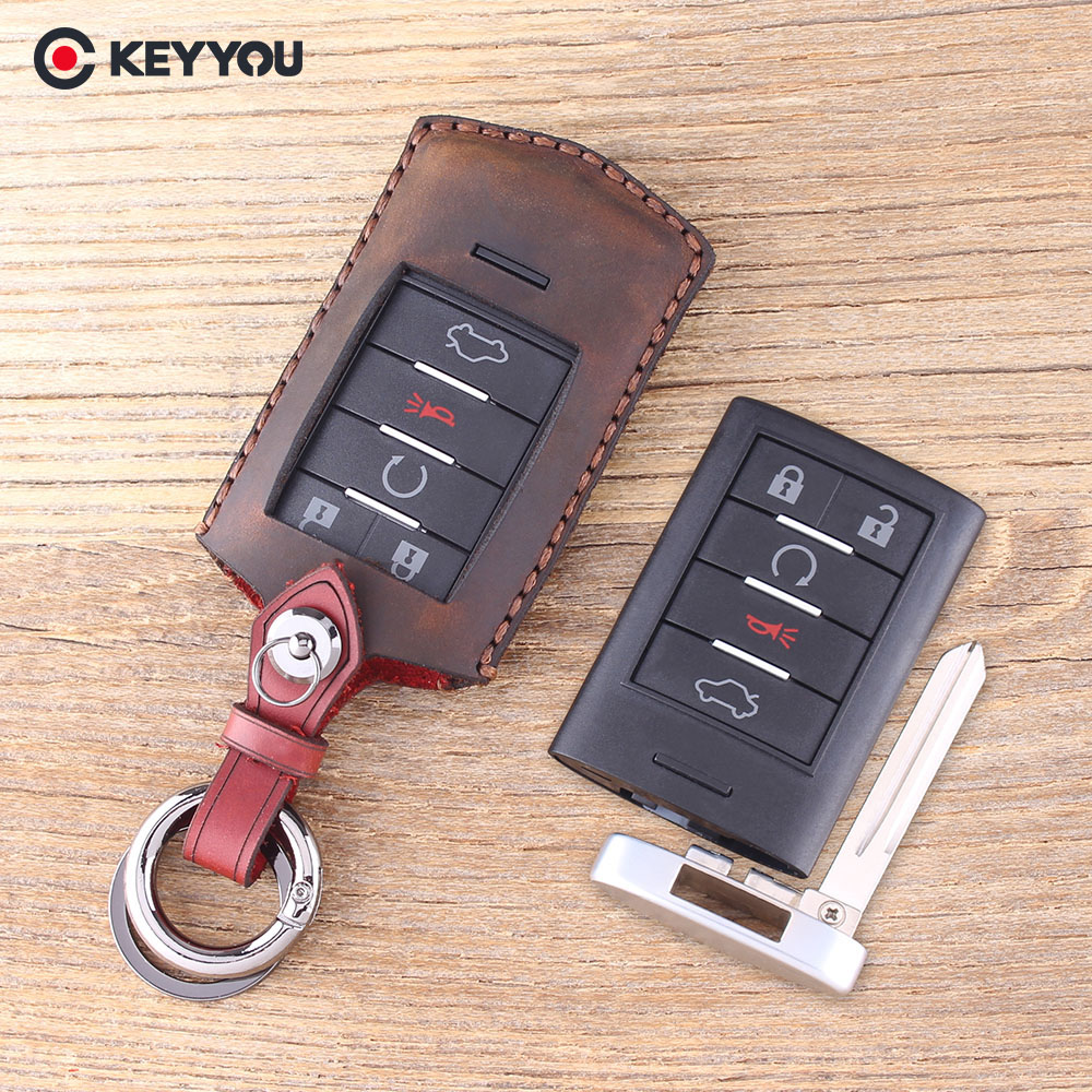 KEYYOU Genuine Leather Car Key Case Key Shell For CADILLAC CTS XTS DTS Remote Key Cover Fob 5 Buttons With Blade