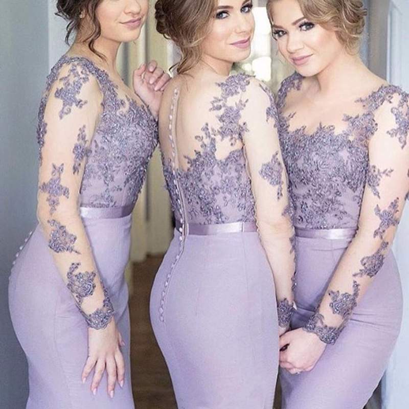 Mermaid Long Bridesmaid Dresses 2018 Long Sleeves Lace Appliques Formal Wedding Party Dresses Sheer Brides Maid Gowns Vestidos