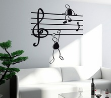 Wall Sticker Music Notes Cartoon Climbing Decal Abstract Funny Adesivo for Living Room Kids Bedroom Decoration NY-260