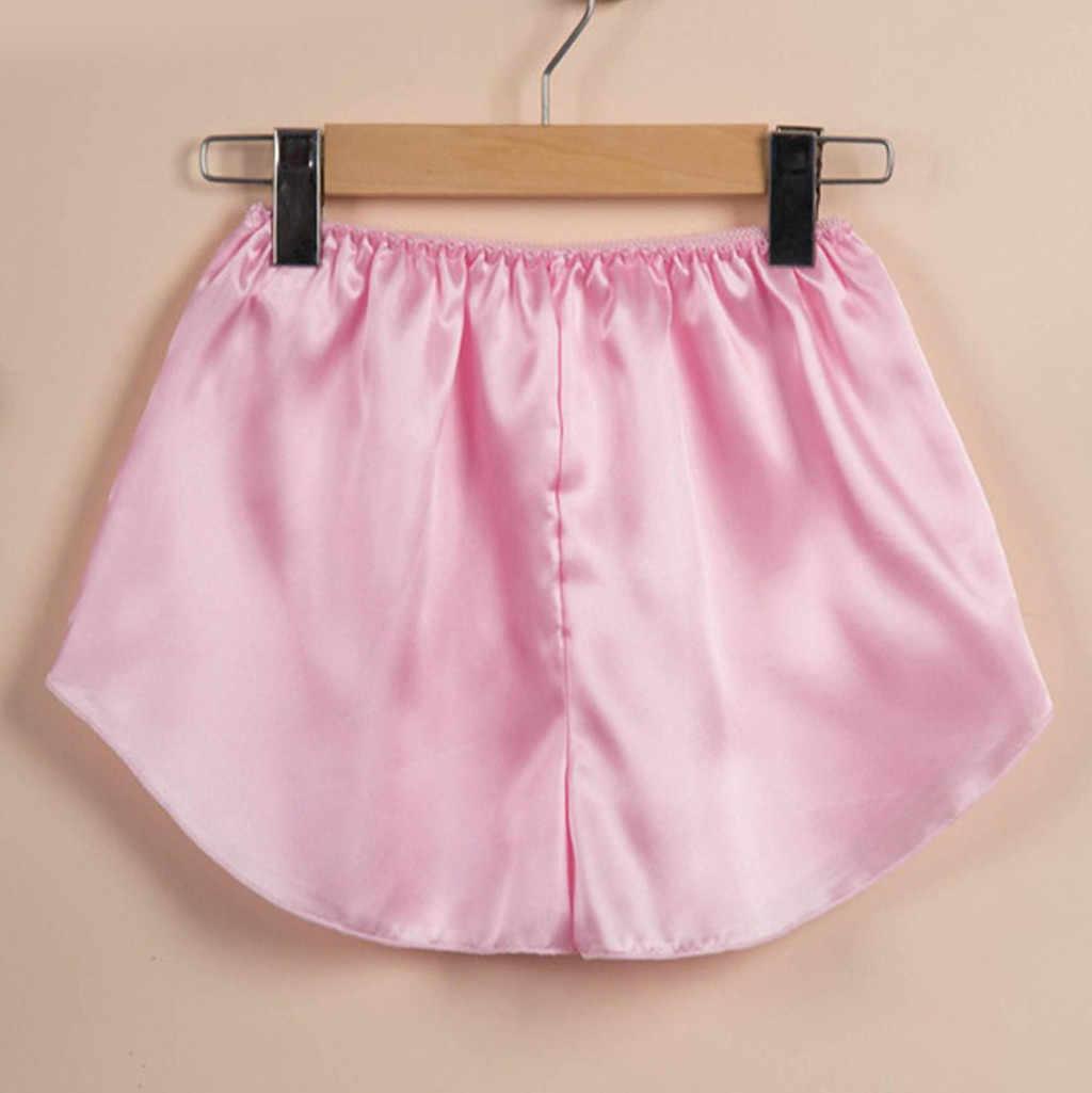 Женские сексуальные Сатиновые Короткие топы + штаны Нижнее белье Babydoll ночная рубашка пижама брюки