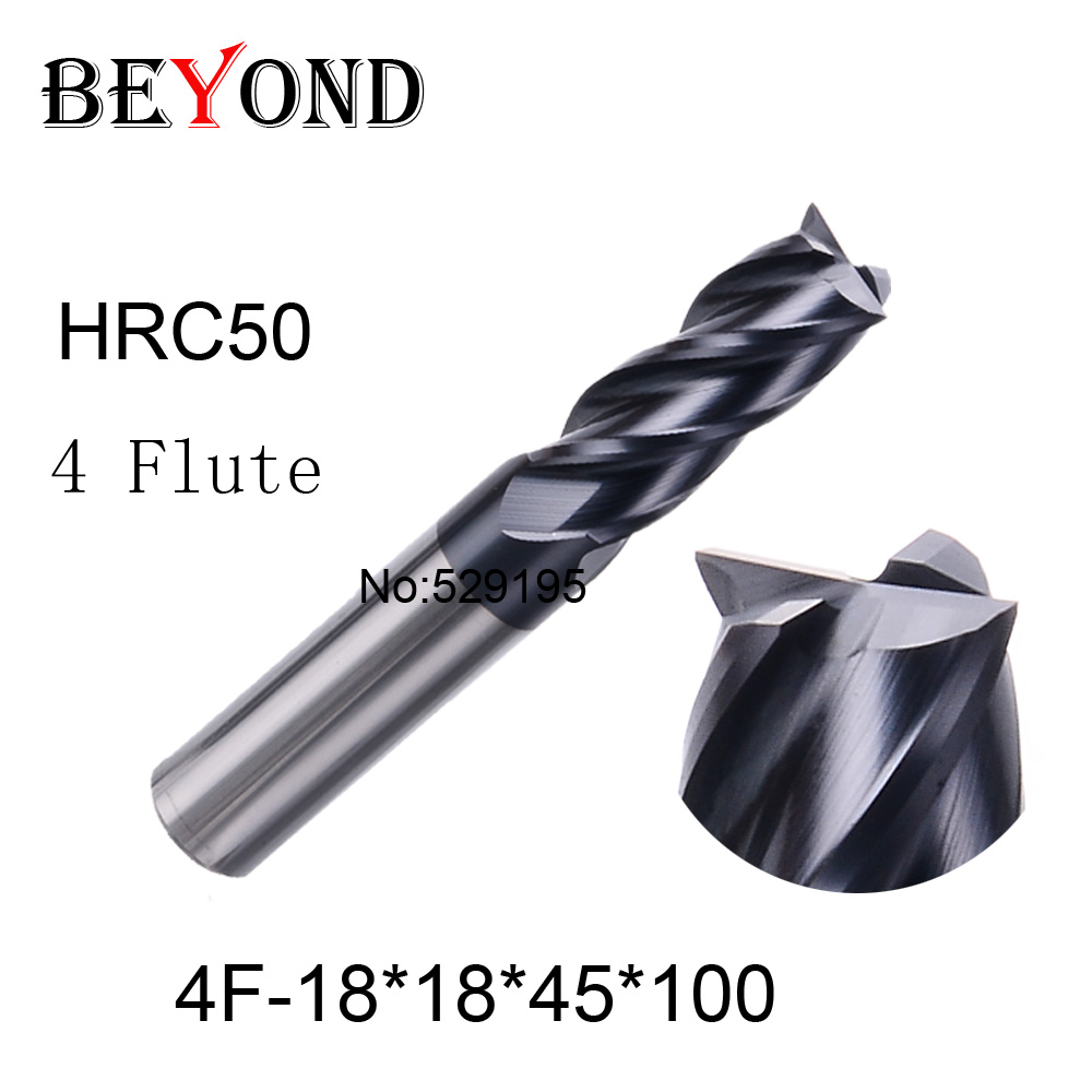 4f-18*18*45*100,hrc50,material Carbide Square Flatted End Mill four 4 flute 18mm coating nano use for High-speed milling machine 5pcs 4f d10 100l hrc50 material carbide square flatted end mill 4flute mill diameter 10mm high speed machine milling cutter