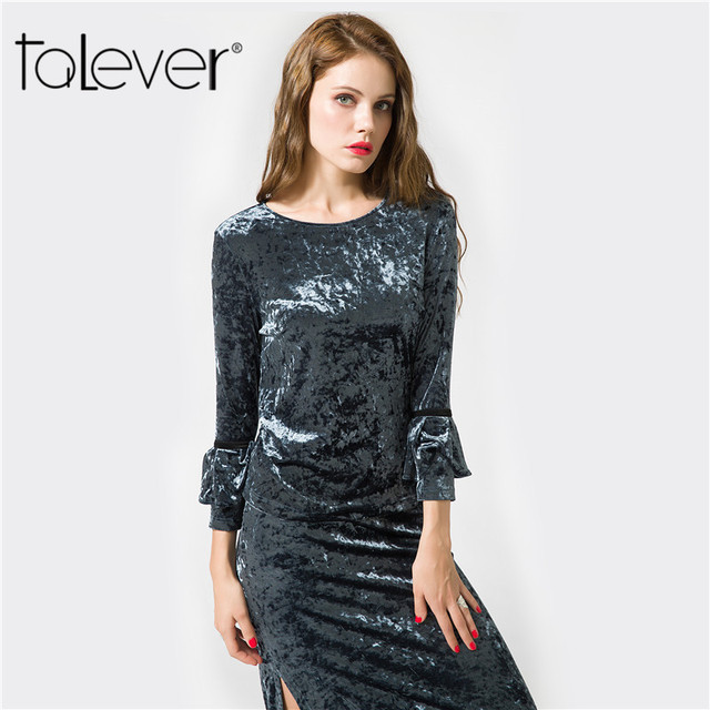 Talever Women Velvet Casual Slim Blouse long Butterfly Sleeve O-neck shirts Autumn Female Sexy Streetwear Tops Blusas Oversize