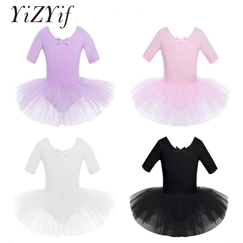 YiZYiF Girls Tutu Ballet Dress Leotard Dance Ballet Tutu Dress Ballerina Short Sleeve Cotton Ballet Dance Leotard Dress For Kids