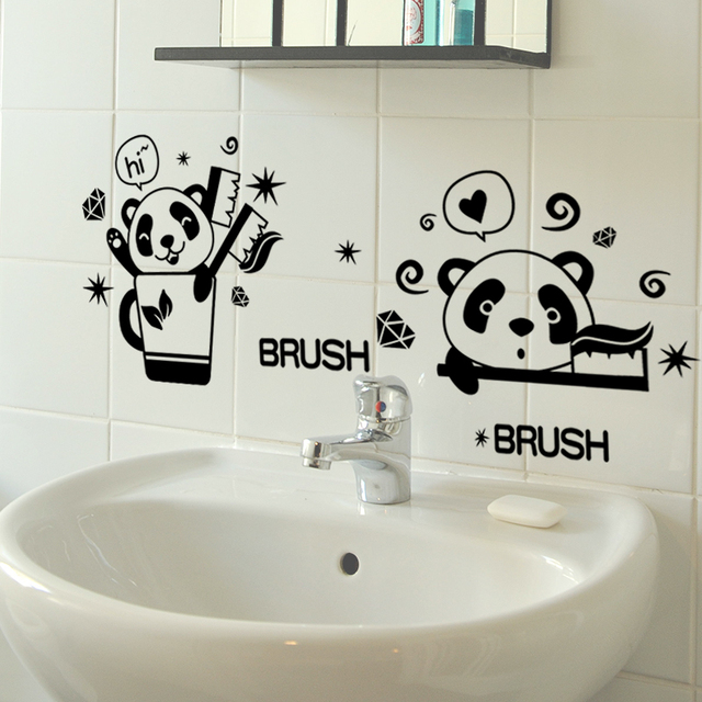Colori Decorativi Per Pareti.Colore Nero Panda Denti Spazzola Wc Stickersbathroom Parete Adesivi