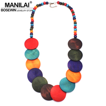 MANILAI Fashion Jewelry Long Wood Beads Statement Necklace Bohemian Women Multicolor Big Beaded Pendant Necklace 2018