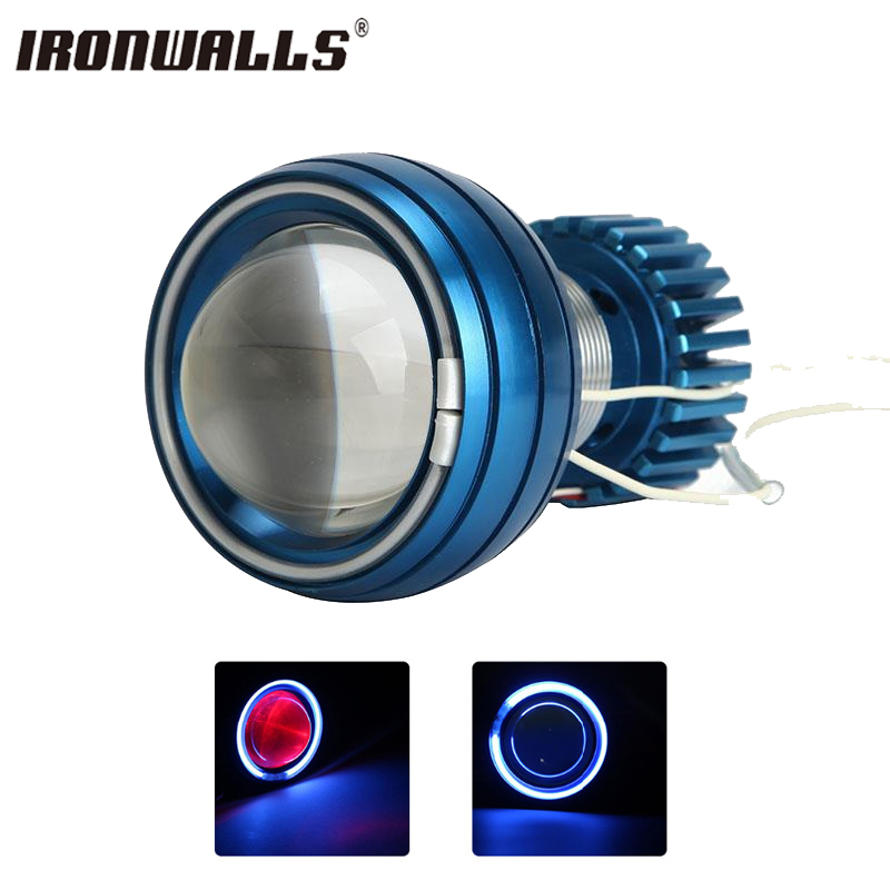 Ironwalls Motorcycle LED Headlight Projector Driving Light HeadlLamp CCFL Angel Eye Devil Eye High/Low Beam 2200lm 6000K 12V