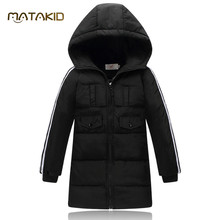 HOT Sale Hooded Girls Boys Winter Jacket Black Yellow Red Long Winter for Boys Jacket 2016 NEW Outdoors Warm Girls Down Jacket