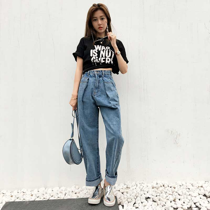 Aliexpress.com  Buy Fashion Women High Waist Baggy Jeans Straight Wide Leg BF Style Loose Fit ...