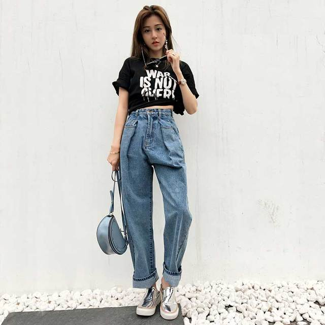 Fashion Women High Waist Baggy Jeans Straight Wide Leg BF ...