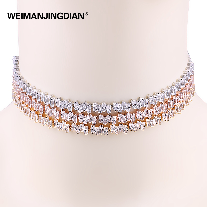 WEIMANJINGDIAN New Arrival Irregular Square Design Sparkling Cubic Zirconia CZ Choker Necklaces for Women alluring round neck solid color hole design irregular romper for women