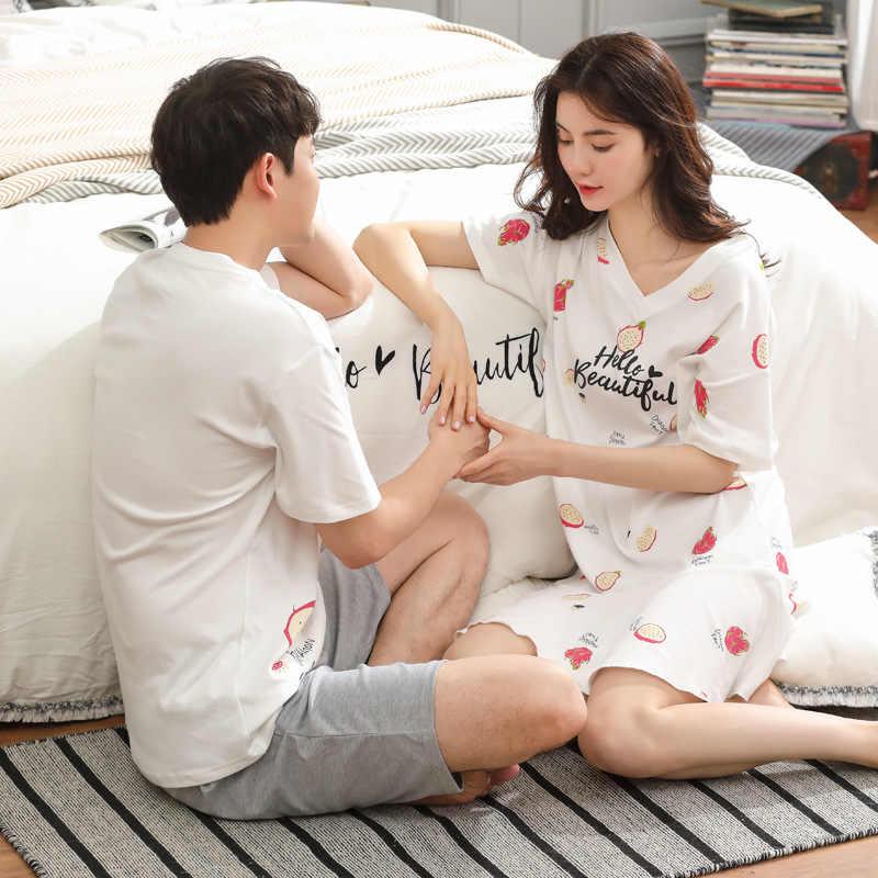Vrouwen en mannen 2019 zomer paar nieuwe dames Koreaanse nachthemd sleepshirts mannen korte mouw katoen knie lengte broek pyjama sets