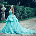 Verde princesa Inchado Vestidos de Baile Do Vintage Prom Vestidos Longos Transporte Rápido Strapless Off The Shoulder Lace Up Prom Vestidos 2016