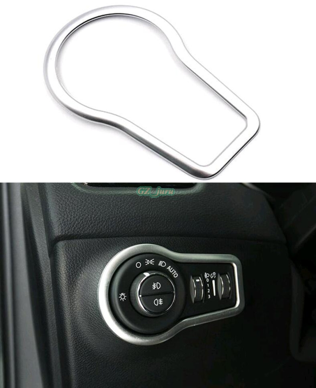 Automotive interior 2017 <font><b>2018</b></font> For <font><b>Jeep</b></font> <font><b>Compass</b></font> Head Light Lamp Switch Button Cover Trim ABS Matte Car styling image