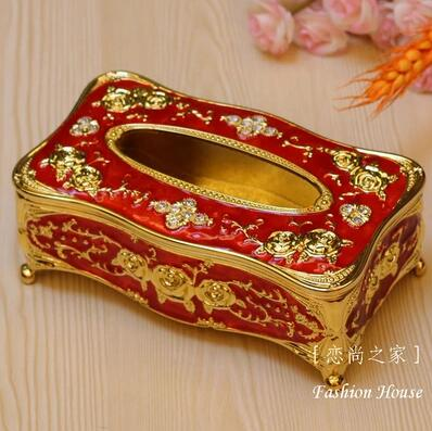 Luxurious Carved Metal Tissue Box With Imitation Diamonds Decoration Holder Napkin Holders For Home Decorationzjh029 In Bo From