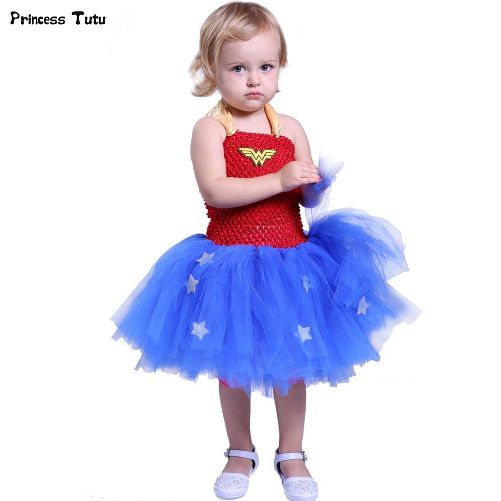 Superhero Girls Tutu Dress Kids Cosplay Wonder Woman Costume Girl Christmas Halloween Dress Up Baby Girl Birthday Party Dresses