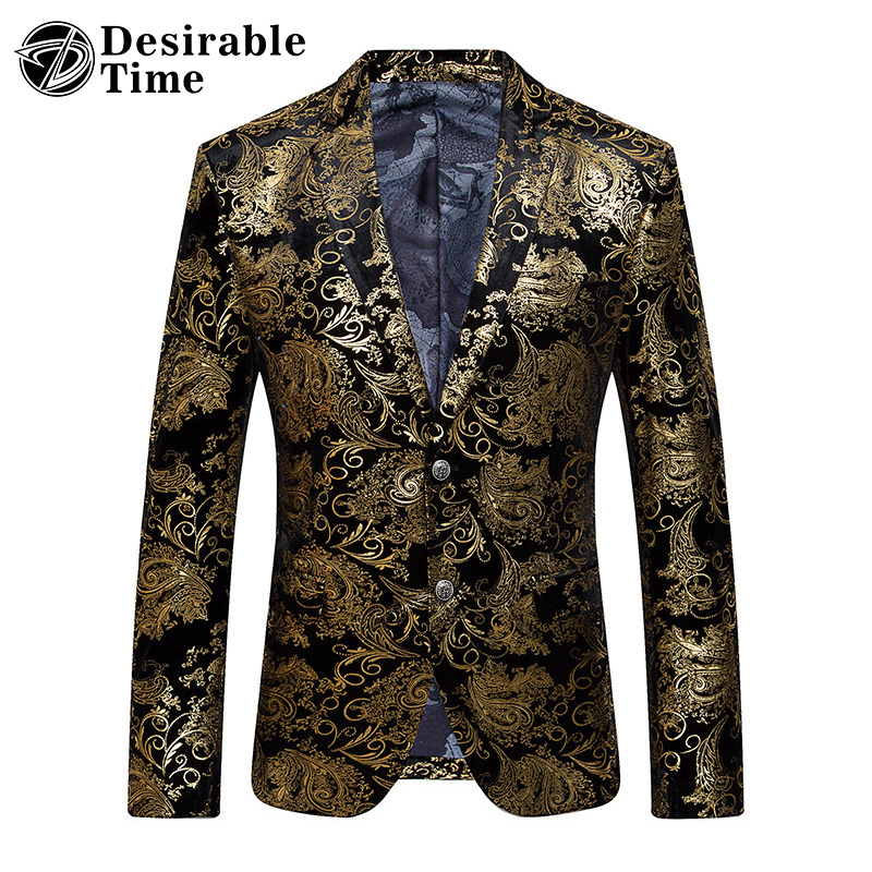 Gold Blazer Men Floral Casual Slim Blazers 2017 New Arrival Fashion Party Single Breasted Men Suit Jacket Plus Size M-6XL XF06
