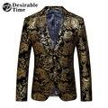 Ouro Homens Blazer Floral Blazers Slim Casuais 2017 Nova Chegada Festa da moda Único Breasted Men Terno Jaqueta Plus Size M-6XL XF06