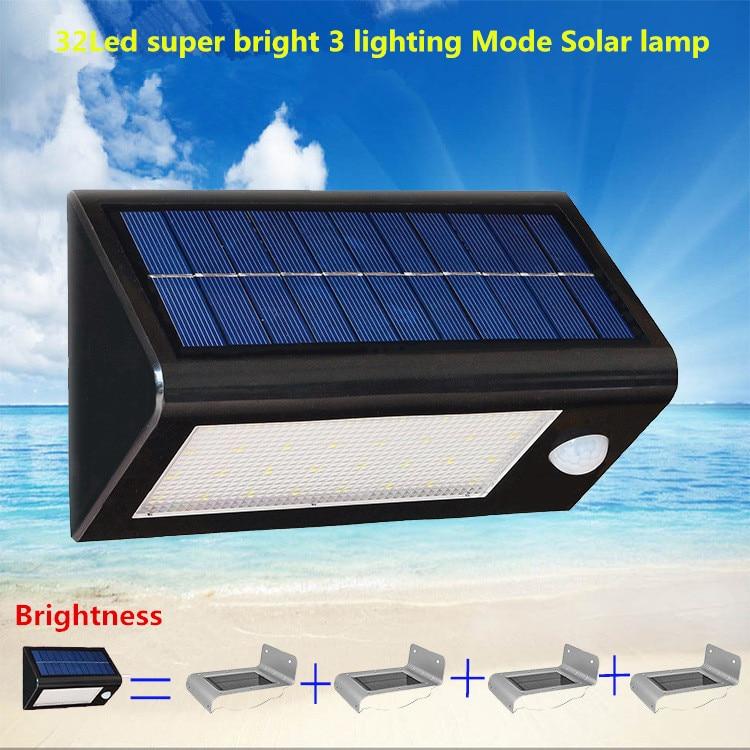 32 led solaire 3.5 W led étanche applique murale 3 Mode d'éclairage extérieur jardin cour chemin capteur de mouvement PIR réverbère