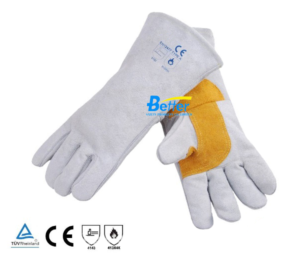Work Glove Leather Welding Glove TIG MIG Welding Work Glove Comfoflex Natrual White Split Cow Leather Safety Glove leather safety glove deluxe tig mig leather welding glove comfoflex leather driver work glove