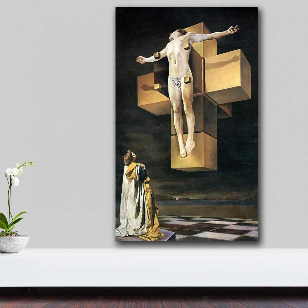 Salvador-dali-crucifixion-corpus-hypercubus Paiting Home Decor On Canvas  Modern Wall Art Canvas Print Poster Canvas Painting
