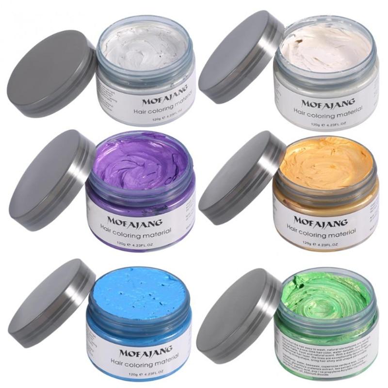 Mofajang 7 Colors Disposable Hair Color Wax Dye One-time Molding Paste Sliver Grandma Green Hair Dye Wax Mud Cream