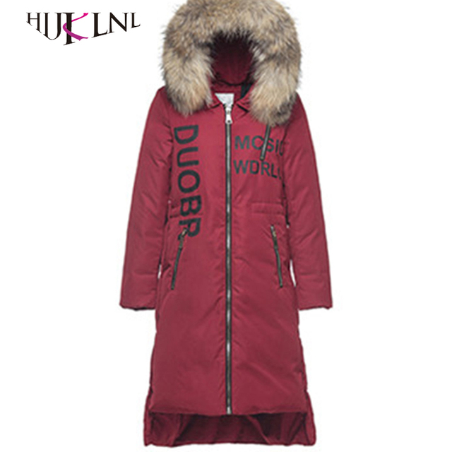 07f1612118b7 HIJKLNL women winter down jacket fur hood thick long down parkas 90% white  duck down coats female military green snow coat PL064