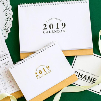 1 Pcs Kawaii 2019 Cute Simple Gilding Calendar Diy Table Desk