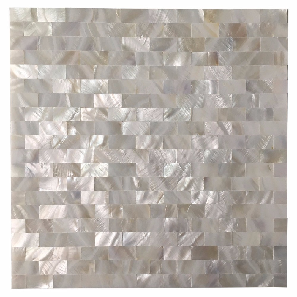 6 Shell Mosaic Tiles Peel and Stick Mother of Pearl Shell Tile for - Home Decor - Photo 2
