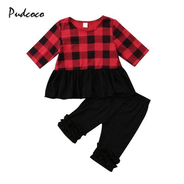 609055419c2f Kids Baby Toddler Girl Clothes Red Plaid Top Long Sleeve T-shirt Black  Pants Ruffles Leggings 2PCS Set Girls Outfit