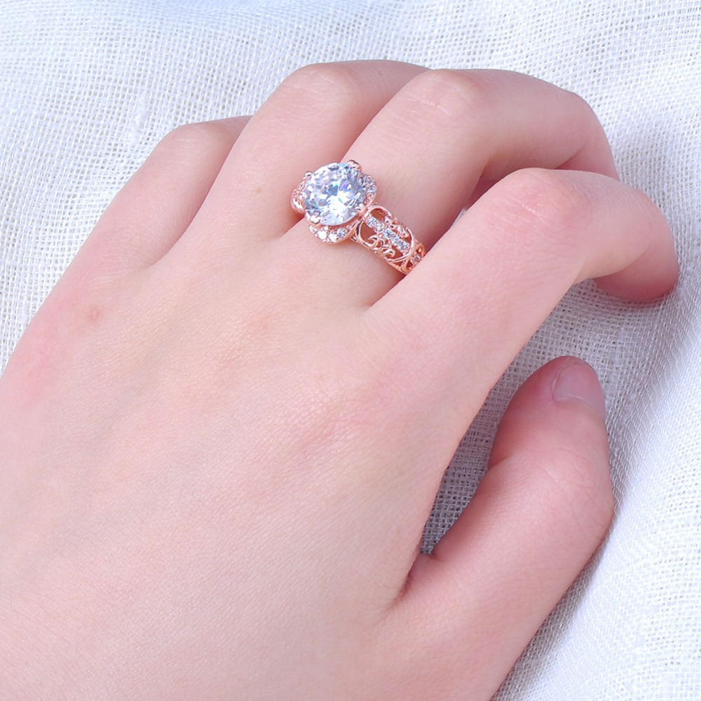 Bamos Luxury Female White Round Zircon Ring Fashion Rose Gold Filled ...
