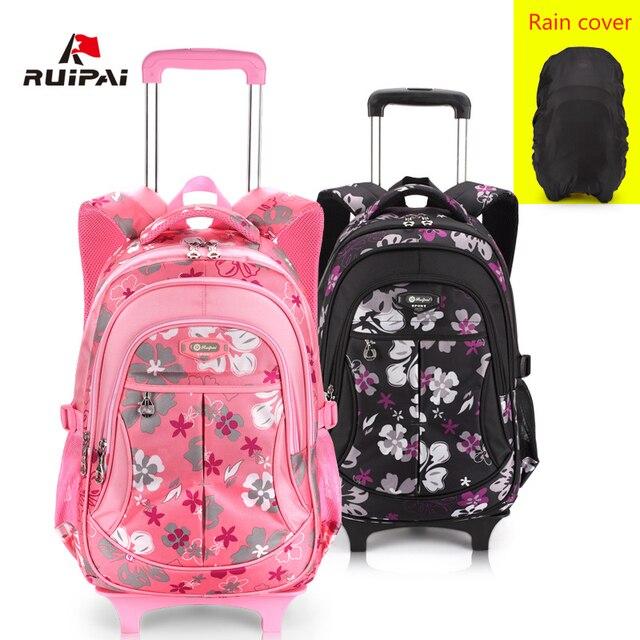 RUIPAI Kids Backpack With Wheel Stair Trolley School Bags Children s Backpack  Schoolbags Waterproof Bags For Girls 32f18990db1f3