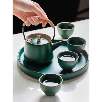 pottery teaware sets 4 people use friend gifts box retro Japan style 1 portable teapot 4 cups 1 tray creative green teapots set