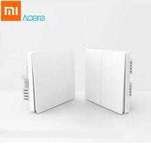 Original Xiaomi Aqara Smart Light Control Fire Wire Zero Line ZiGBee Double Single Key Wall Switch Version Mi Home APP Control