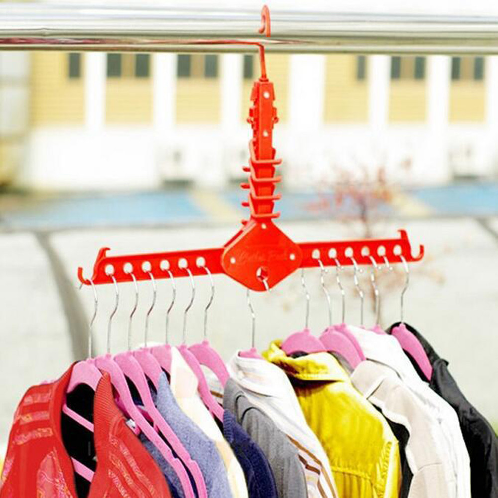 4 Colors Dual Hanger Clothes Folding Hanger Rack Coat Organizer Foldable Closet F115