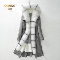 Новинка 100% вечерние зимняя длинная меховая из натурального меха, меховая подкладка из кроличьего меха #5