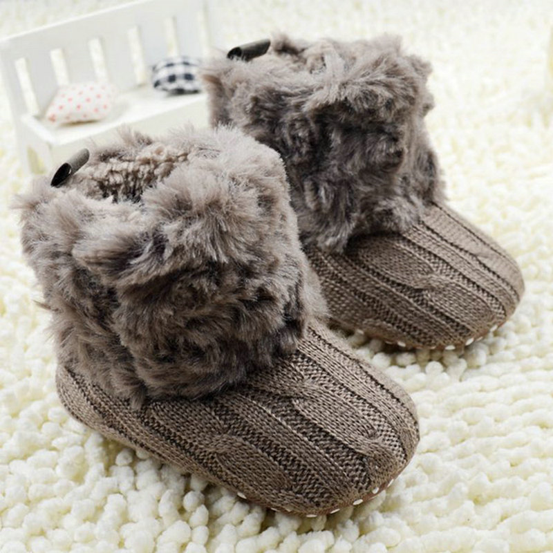 Baby Kid Boys Girls Knitted Fur Snow Boots 5 Color Toddlers Soft Sole Short Warm Boots Shoes 0-18 Months
